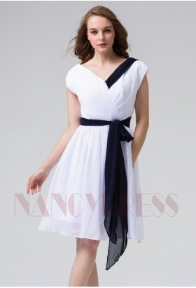 robes cocktail blanc courte D081