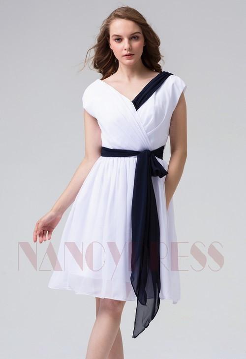 robes cocktail blanc courte D081