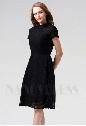 robes de cocktail noire courte D085