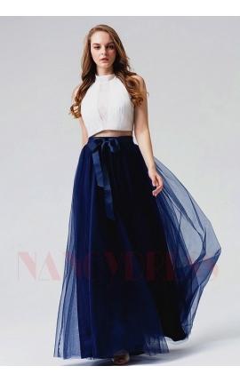 robe de soirée blanc et bleu marine long
