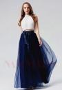 robe de soirée blanc et bleu marine long H107