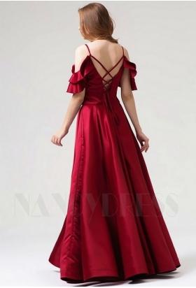 robe de soirée bordeaux long H090