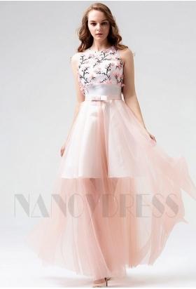robe de soirée rose long H114
