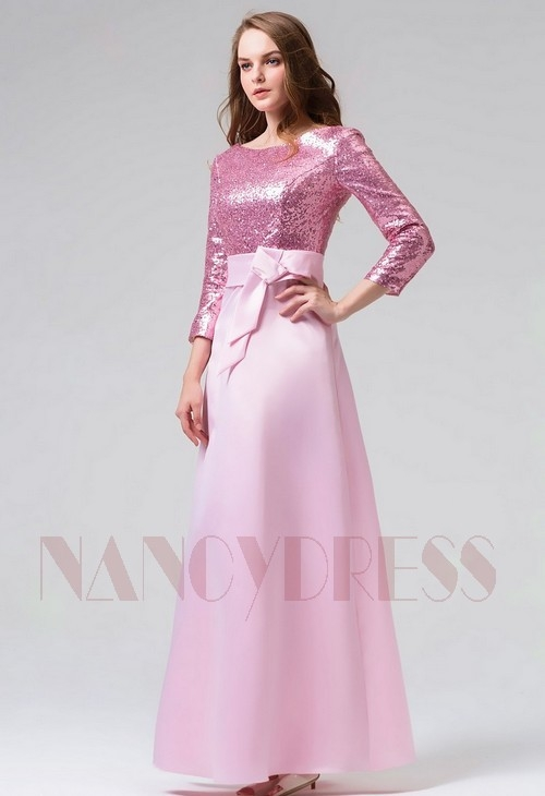 robe de soirée rose long H094