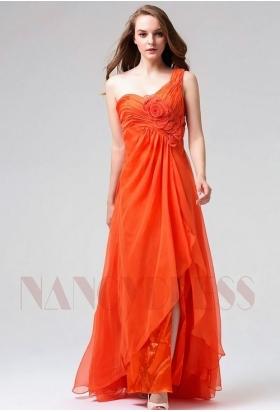 robe de soirée longue orange long H119