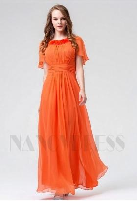 robe de soirée pas cher orange long H118