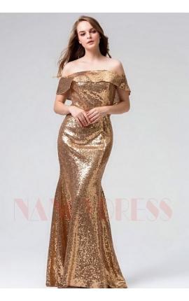 robe soirée d'or long