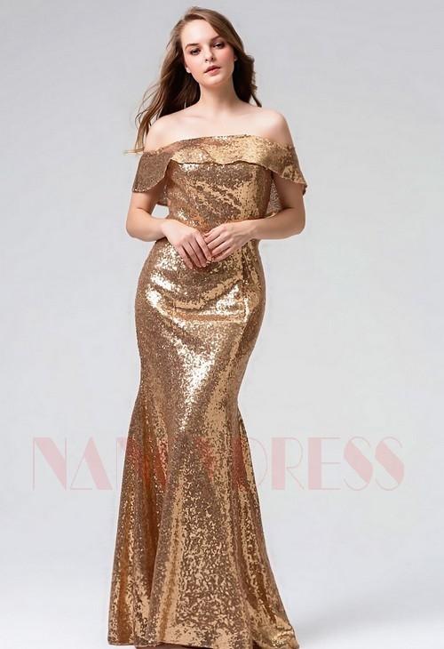 robe soirée d'or long H095