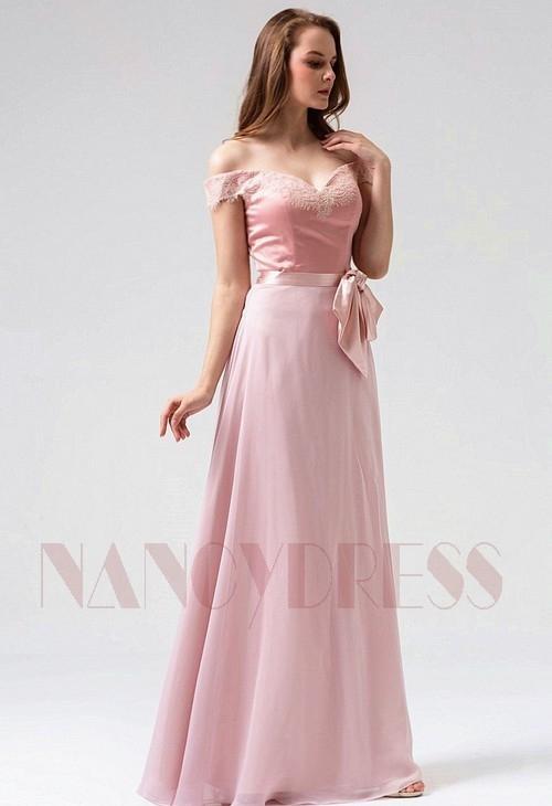robe soirée rose long H091