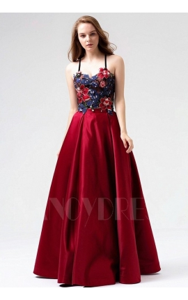 robe soirée bordeaux long