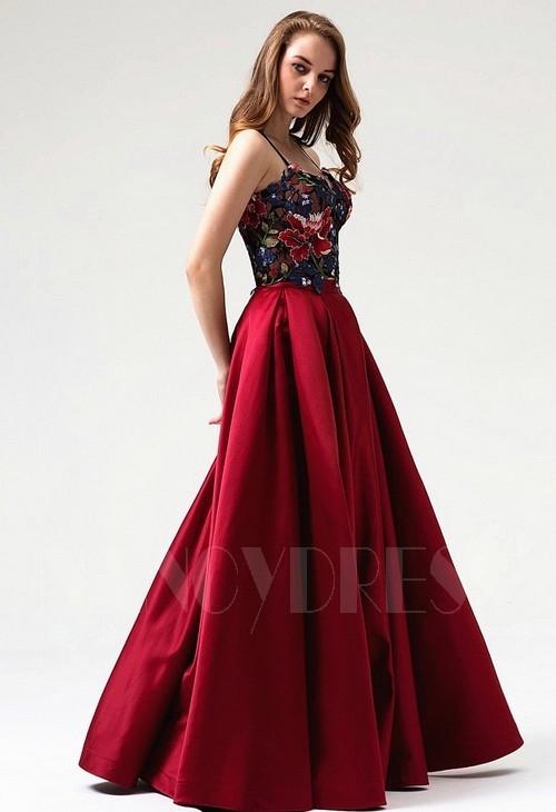 robe soirée bordeaux long H087