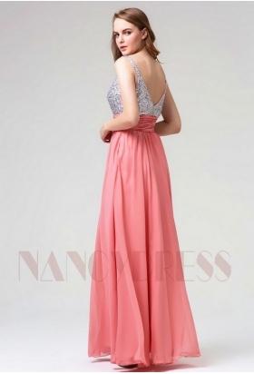 robe soirée rose foncé long H115