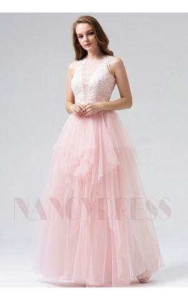 robe soirée rose long H108