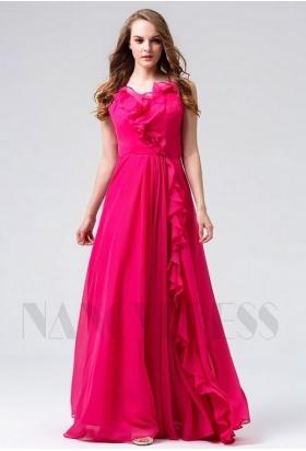 robes de soirée fuchsia long H104