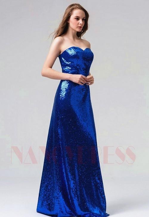 robes de soirée bleu marine long H096