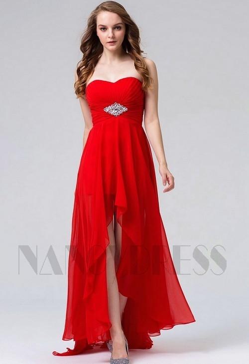 robes de soirée rouge feu long H116