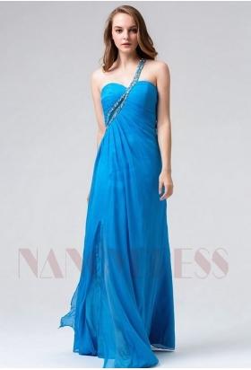 robes soirée bleu long H093