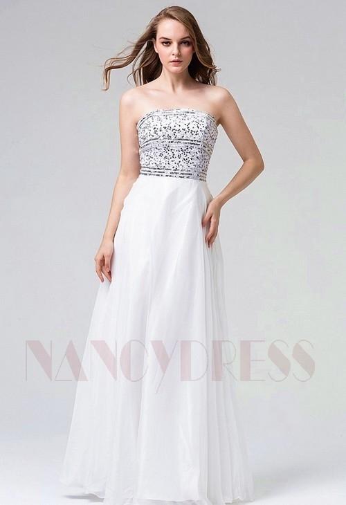 robes soirée blanc long H097