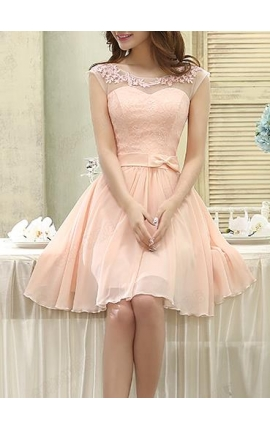 robe de cocktail rose bisque courte