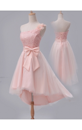 robe cocktail rose bisque courte