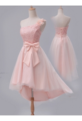 robe cocktail rose bisque courte D107