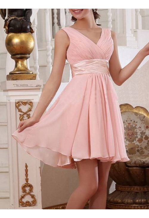 robes de cocktail rose bisque courte D108