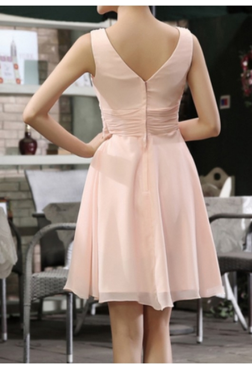 robes cocktail rose bisque courte D109