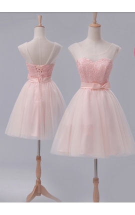 robe de cocktail rose bisque courte