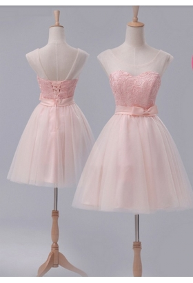 robe de cocktail rose bisque courte D110