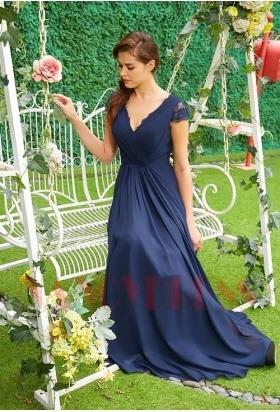 robe de ceremonie bleu en mousseline H121