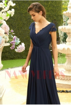 robe de ceremonie bleu en mousseline H121