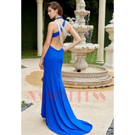 robe de cocktail bleu roi dos nu mariage
