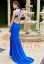 robe de cocktail bleu roi dos nu mariage luxe H122