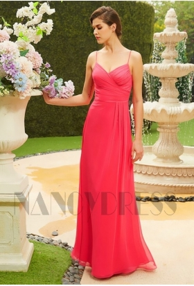 robe de cocktail long rose mousseline H124