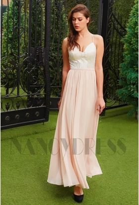 robe de cocktail long rose pour mariage en mousseline H125