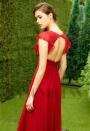 robe de cocktail rouge avec manches H127