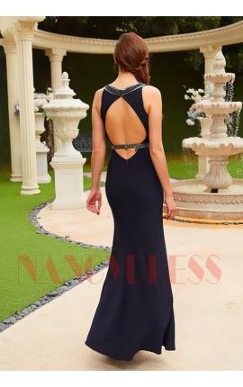 robe de soiree long moulante bleu nuit