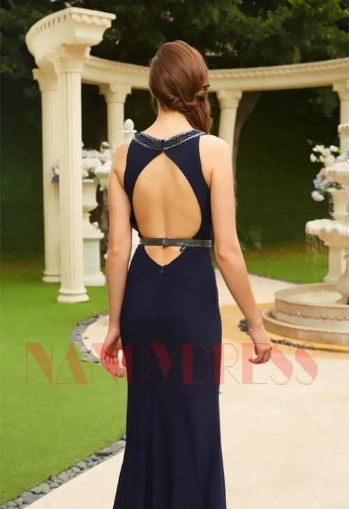 robe de soiree long moulante bleu nuit H128