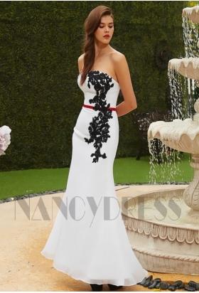 robe de soirée long noire et blanche H129