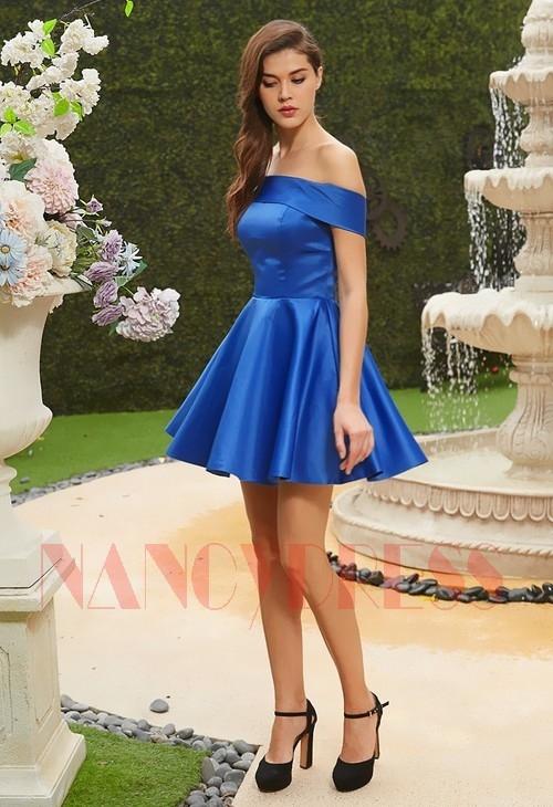 robe de cocktail mariage bleu D111