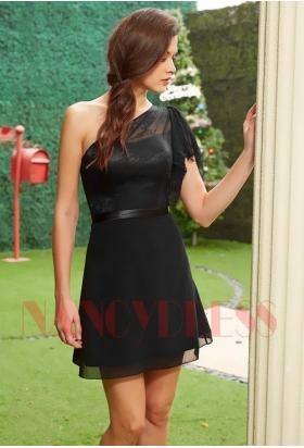 robe de soirée courte noire dentelle D113