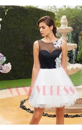 robe de soirée courte noire et blanche dentelle
