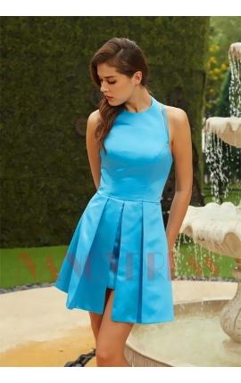 robe de soirée courte bleu turquoise chic