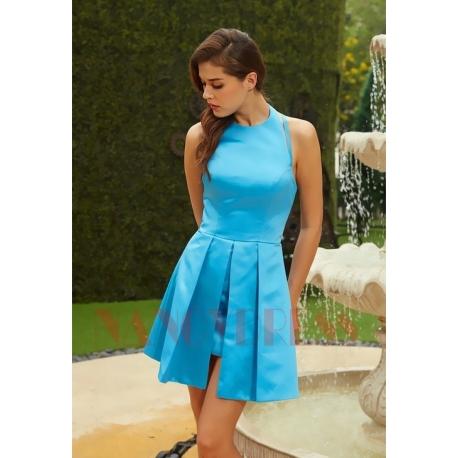 Soirée Turquoise Courte nancydress Bleu De Chic Robe yv0OnmwN8