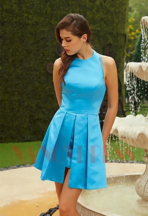 6131ee0000c robe de soirée courte bleu turquoise chic D115