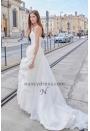 Robe de mariage pas cher fleur romantique à la taille