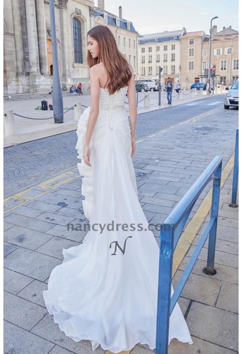 1945491fa08af Robe de mariage pas cher fleur romantique à la taille