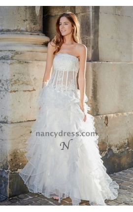 Robe de mariée tulle en vague corset transparent