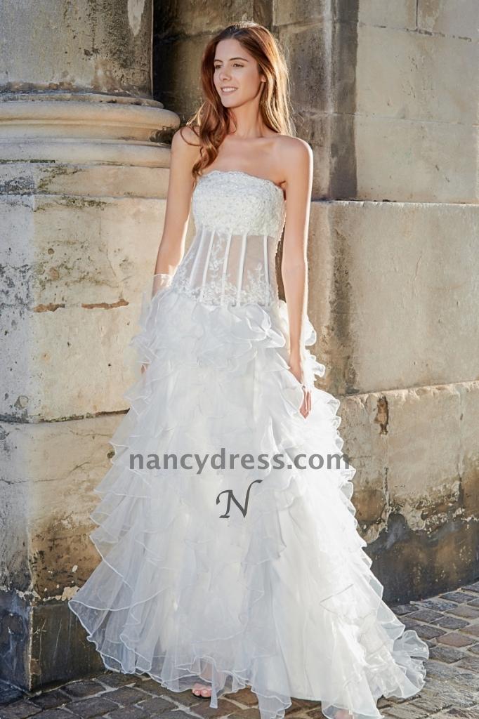 Robe de mariée tulle en vague corset transparent