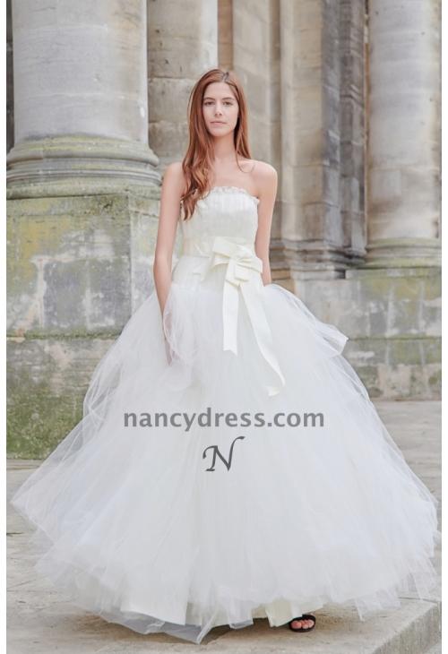 Robe de mariée princesse en tulle avec ceinture à nœud